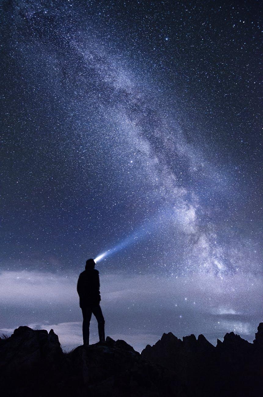 light mountains sky night